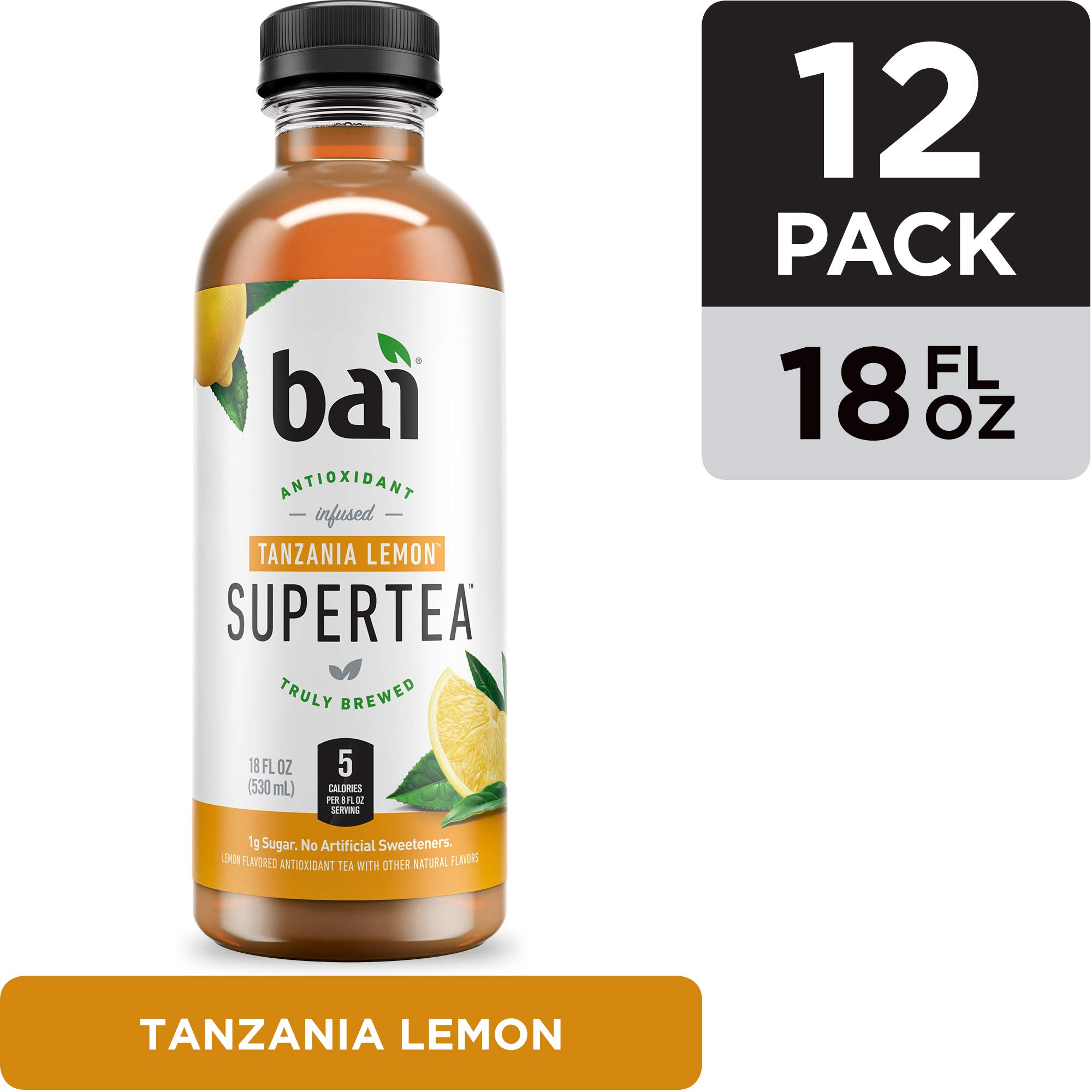 Bai Iced Tea, Tanzania Lemon, Antioxidant Infused Supertea, Crafted with Real Tea (Black Tea, White Tea), 18 Fluid Ounce Bottles, 12 count by Bai