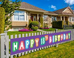 Colormoon Large Happy 18th Birthday Banner, 18th Birthday Sign Decoration Party Supplies, 18th Eighteen Eighteenth Decor (9.8 x 1.5 ft)