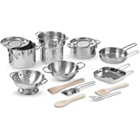 Melissa & Doug Deluxe Stainless Steel Pots & Pans Play Set Pretend Cooking 15 Pcs
