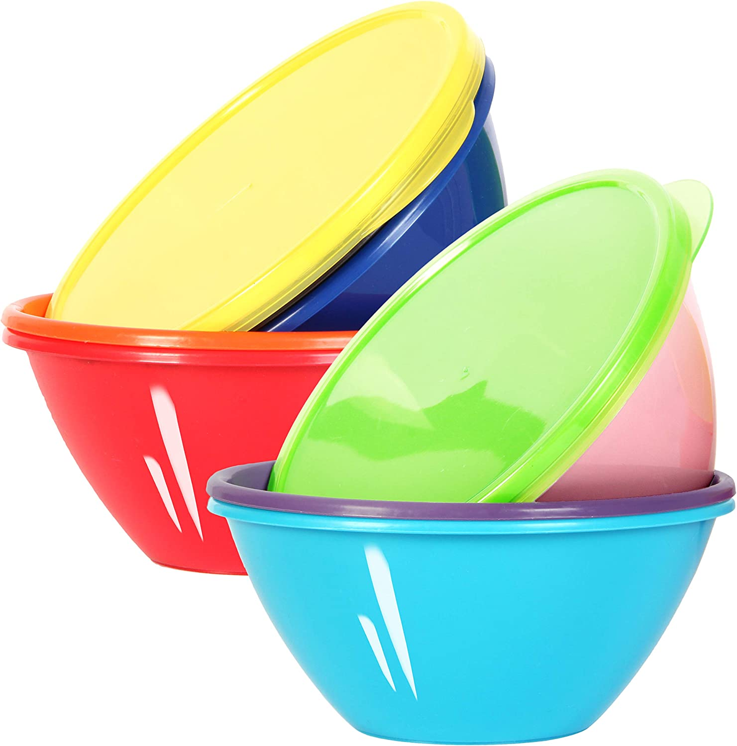 Youngever 32 Ounce Plastic Bowls with Lids, Large Cereal Bowls, Large Soup Bowls, Food Storage Containers, Microwave Safe, Dishwasher Safe, Set of 9 in 9 Assorted Colors