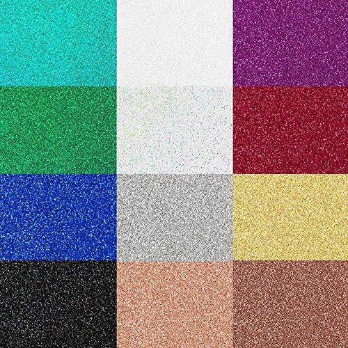 Siser Glitter Heat Transfer Vinyl for T-Shirts, 12 Pack (Hill White Spring Finish)