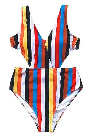 6a11936b7cd66 CUPSHE Women s Stripe Print V Neck One-Piece Swimsuit Hollow Back Monokini  Small