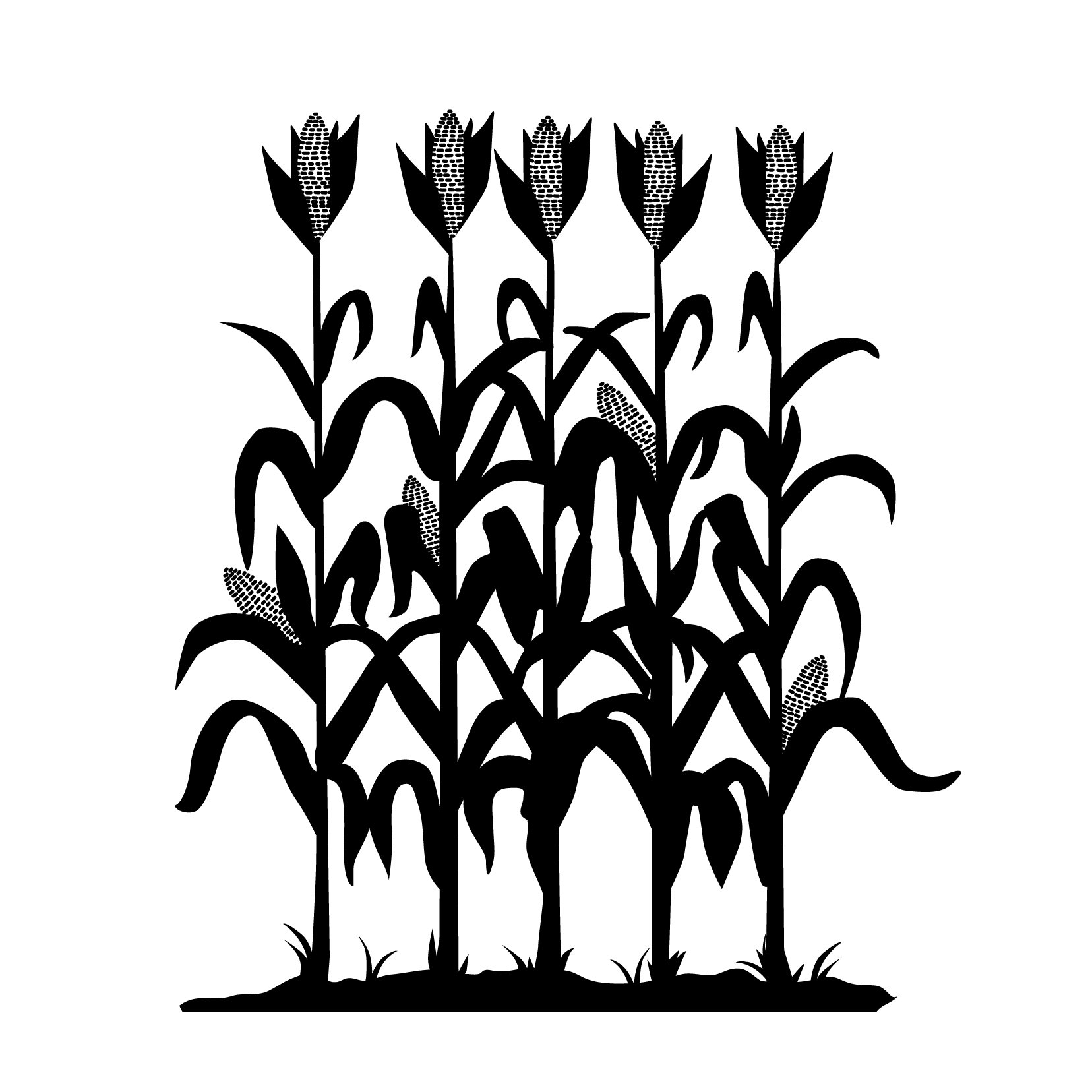 Corn Row Silhouette - Small, Black - Vinyl Wall Art Decal for Homes, Offices, Kids Rooms, Nurseries, Schools, High Schools, Colleges, Universities, Interior Designers, Architects, Remodelers
