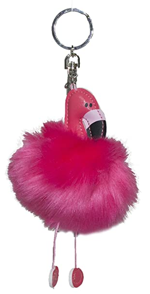 Amazon.com: Divertido y pegajosa Fuzzy Flamingo llavero/Clip ...
