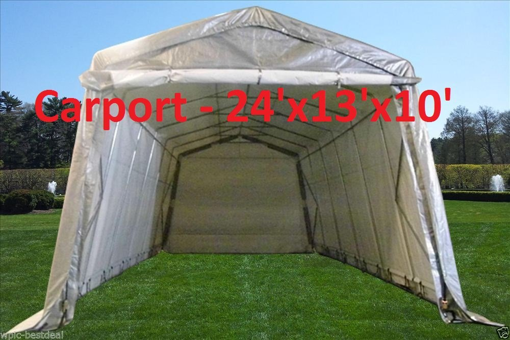 24'x13' Carport Grey/White - Heavy Duty Waterproof Garage Storage Canopy Shed Car Truck Boat Carport PE - By DELTA Canopies
