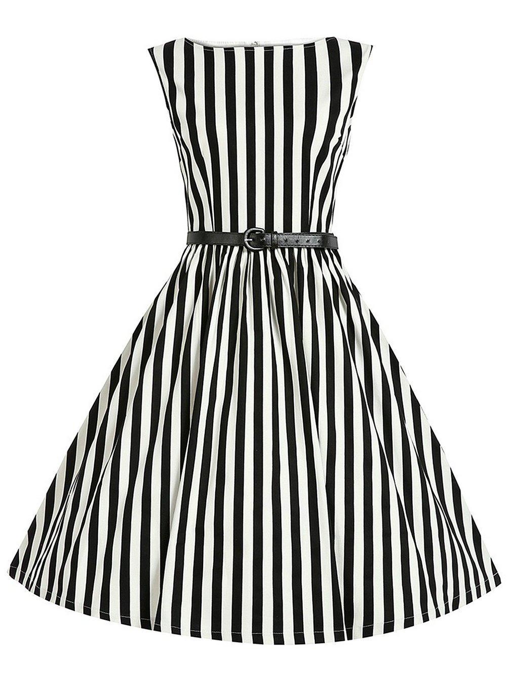 MisShow 1950s Hepburn Style Sleevless Vintage Stripe Retro Belt Swing Dresses