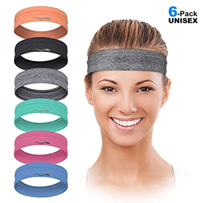 QiShang 3Pack Womens Stretchy Headbands Workout,Sweat Bands Headbands Women Moisture Wicking,Yoga Sports Athletic Running Headbands for Womens Hair Non Slip