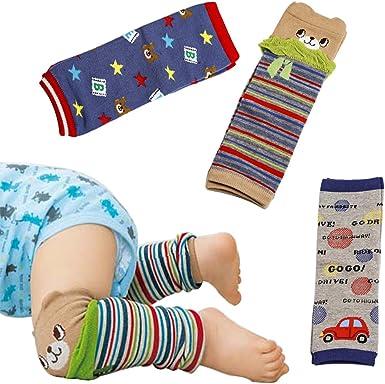 Ehdching 4 Pack Cartoon Animal Baby Infants Toddlers Boys Girls Knee Pads Leg Warmers