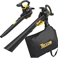 Leaf Blower Vacuum, TECCPO 12-Amp 250MPH 410CFM 3 in 1 Corded Electric Two-Speed Sweeper/Vac/Mulcher, Plastic Impeller Metal Blade, Ideal for Lawn and Garden - TABV01G