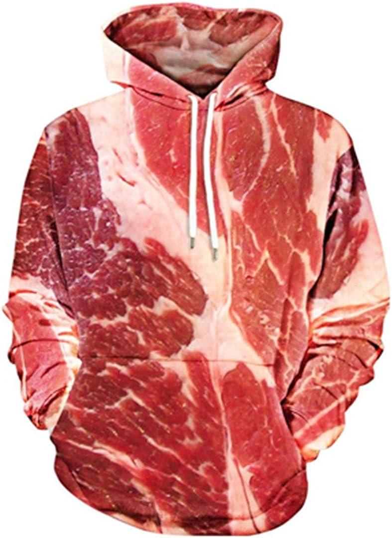 Adult Raw Meat Print Kangaroo Pocket Hoody Funny Pork 3D Hoodie Sweatshirt