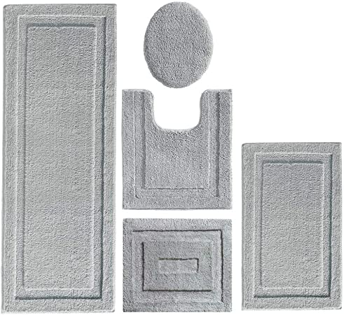 Mdesign Soft Microfiber Polyester Bathroom Spa Rug Set Water Absorbent Machine Washable Plush Non Slip Includes 3 Rectangular Accent Rugs