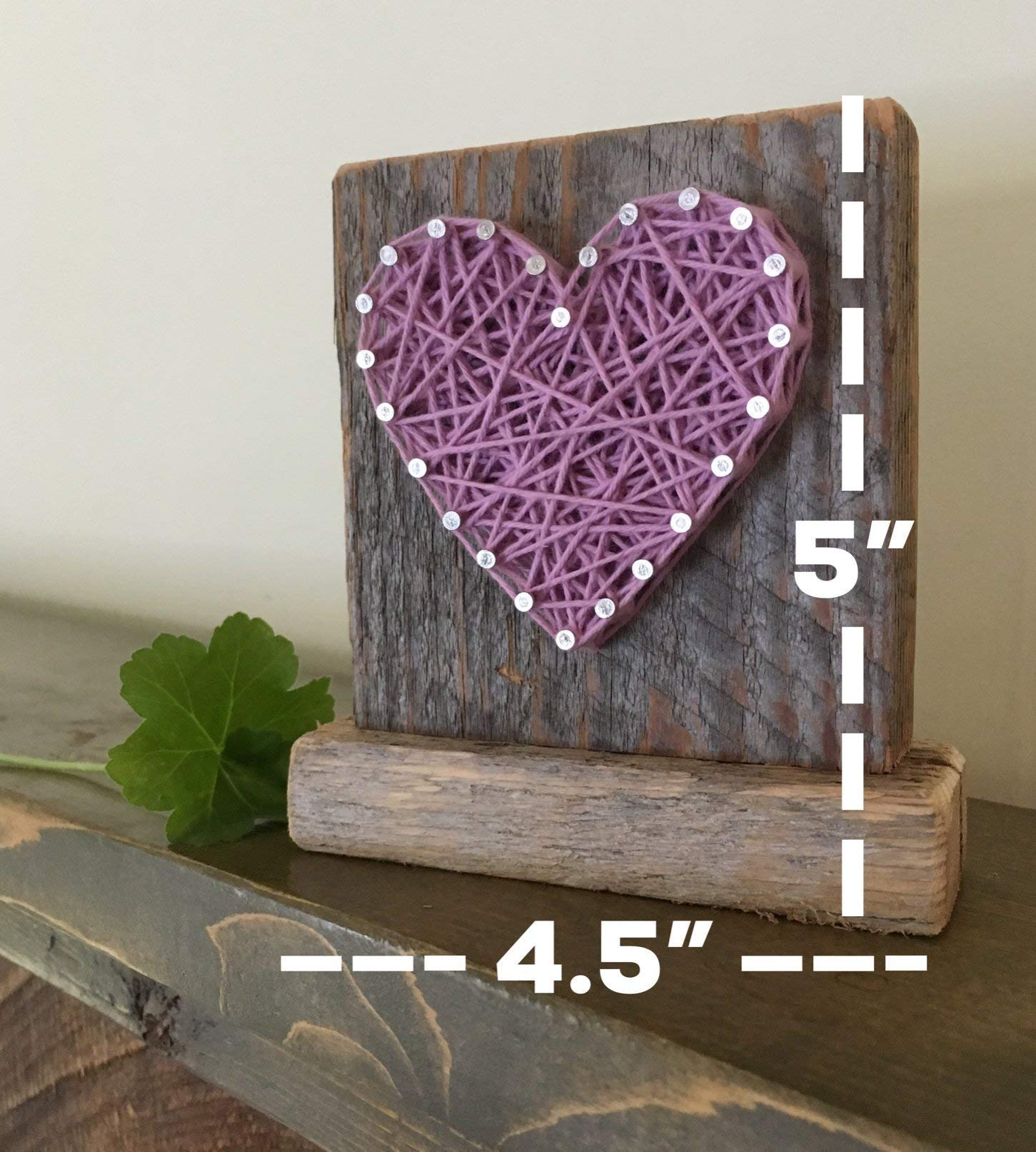 Sweet & small freestanding wooden lavender string art heart sign. Perfect for Mother's Day, home accents, Wedding favors, Anniversary gifts, nursery decoration and just because gifts by Nail it Art. by Nail it Art (Image #1)