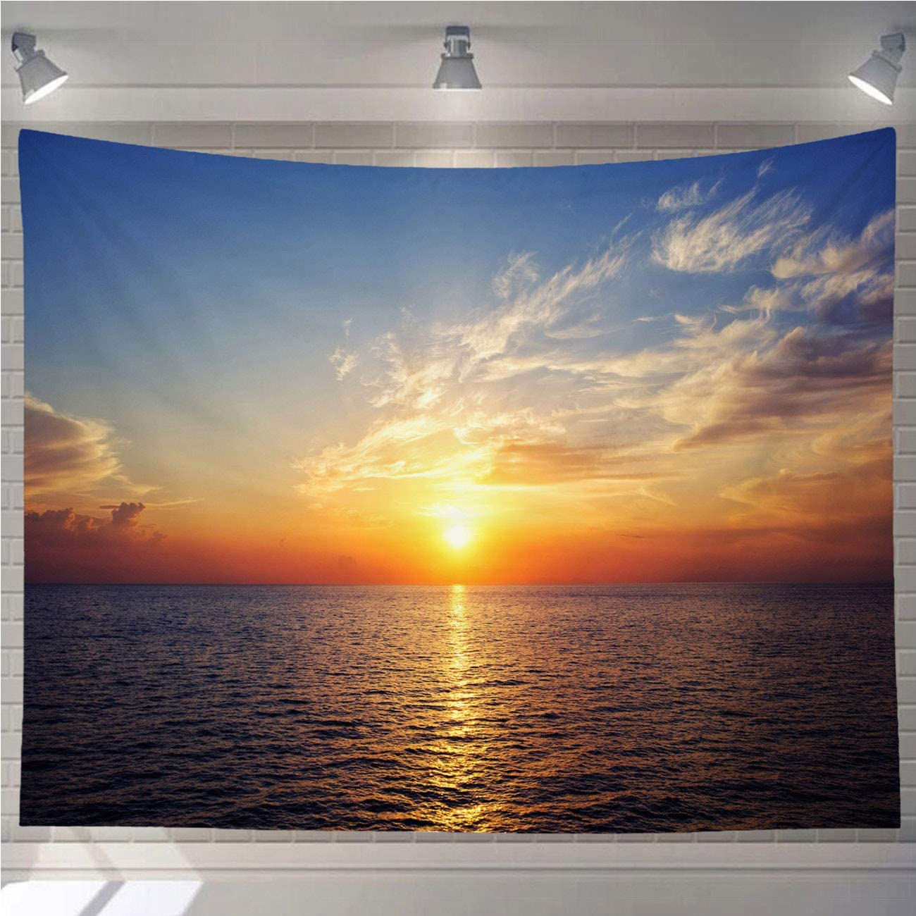 OTTOSUN Sunset Tapestry Wall Hanging,Sunset Sun Afterglow Morgenrot Sky Water Sea Ocean Mirroring Romance,Nature Home Decorations for Living Room Bedroom Dining Room Dorm,60x40 in