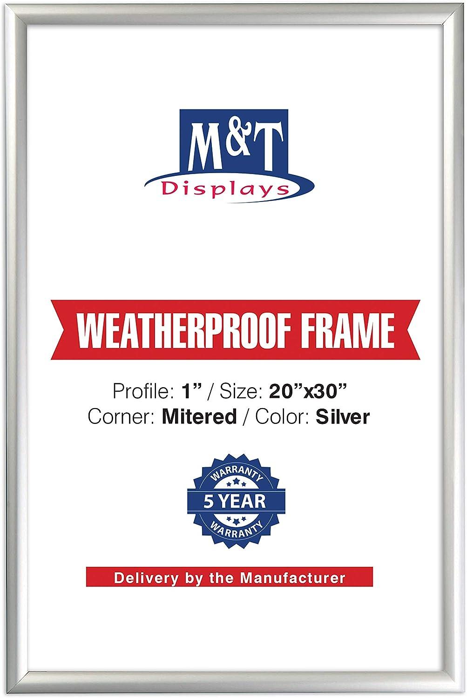 "M&T Displays Front Loading 1"" Mitered Weatherproof Snap Frame, 20""x30"""
