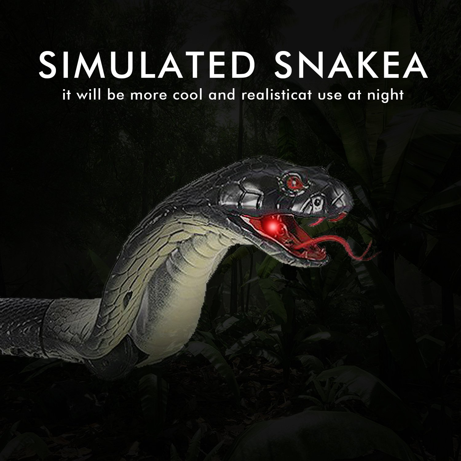 Greatstar Remote Control Snake Toy for Kids 17.5 Inch Rechargeable Realistic Cobra Snake King Naja Toy for Christmas Hallowene Gift by Greatstar (Image #3)