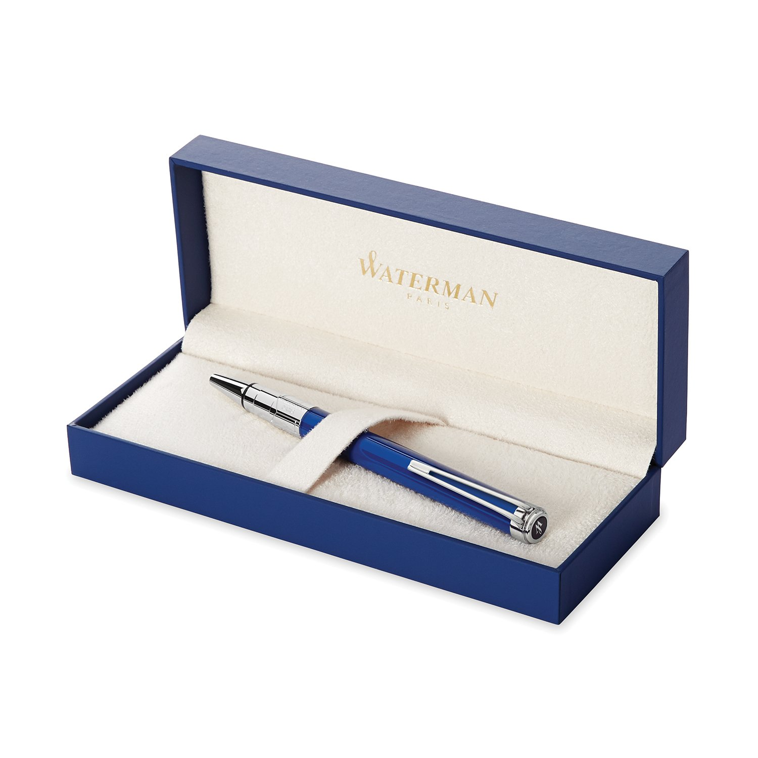 Waterman Perspective Ballpoint Pen, Gloss Blue with Chrome Trim, Medium Point with Blue Ink Cartridge, Gift Box