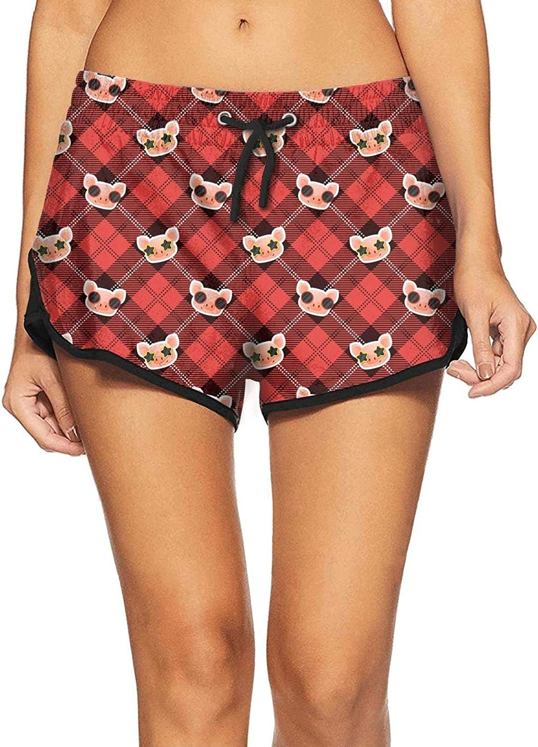 Custom Animal Collection Red Plaid Pigs with Glasses Fashion Womens Home Pants Beach Board Shorts