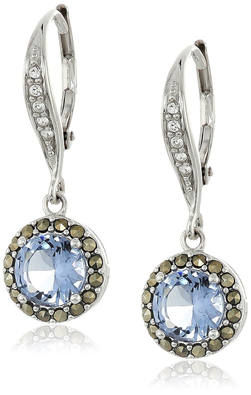 Judith Jack Sterling Silver/Swarovski Marcasite Cubic Zirconia Leverback Drop Earrings