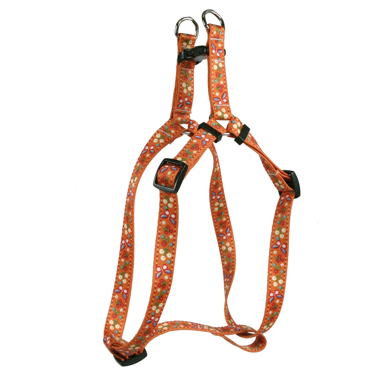 Yellow Dog Design Festive Butterfly Orange Step-in Dog Harness, X-Small
