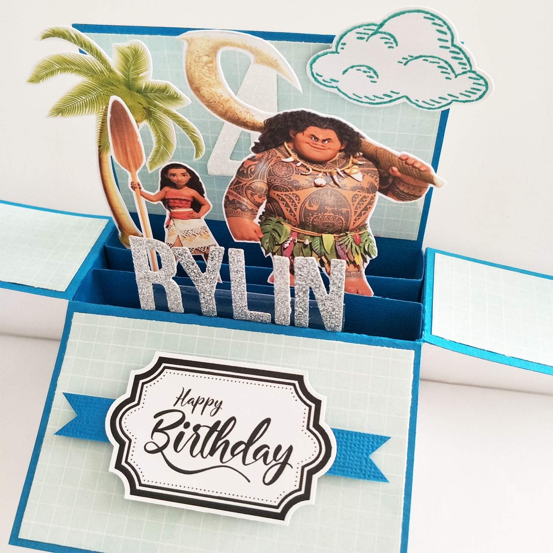 Amazon Name Age Personalised 3D Happy Birthday Card For Kids Handmade Moana Disney Princess