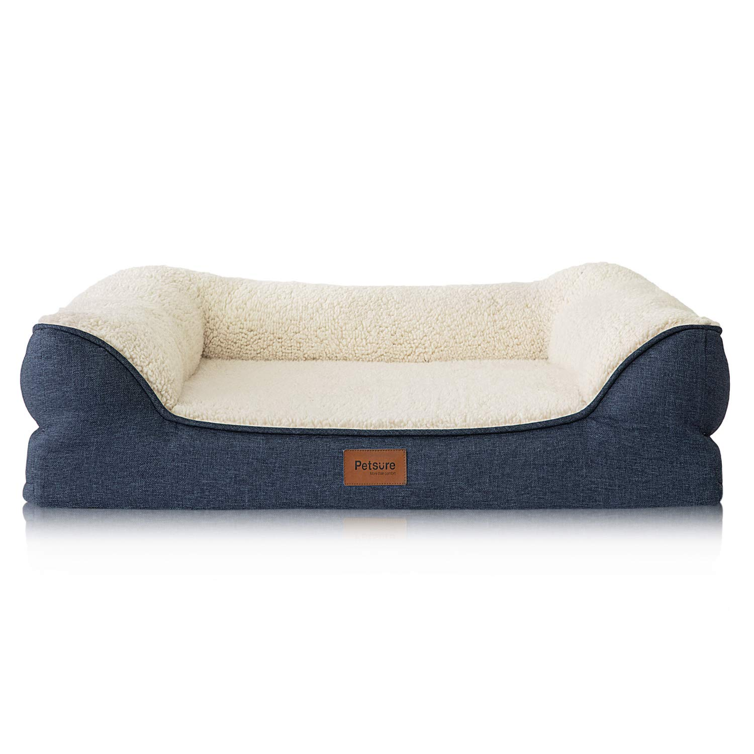 Petsure 28 36 42 inches Orthopedic Memory Foam Dog Bed for Small, Medium, Large Dogs Pets – Bolster Couch Extra Large Dog Beds Washable with Removable Cover, Nonskid Bottom