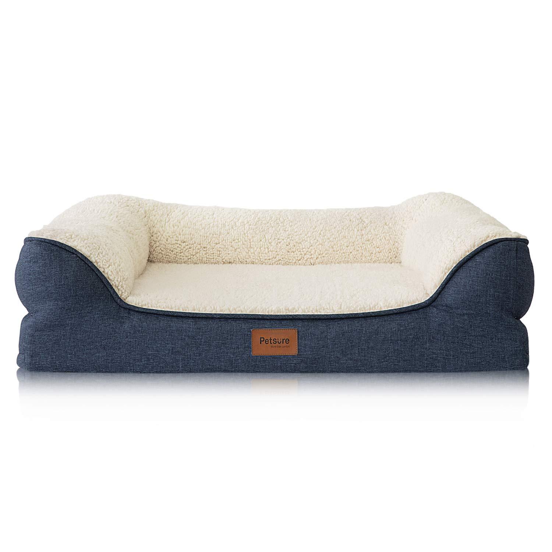 Bedsure Orthopedic Pet Sofa Beds for Small, Medium Dogs & Cats – 28x23x7 inches Medium Dog Beds, Denim Blue – Memory…