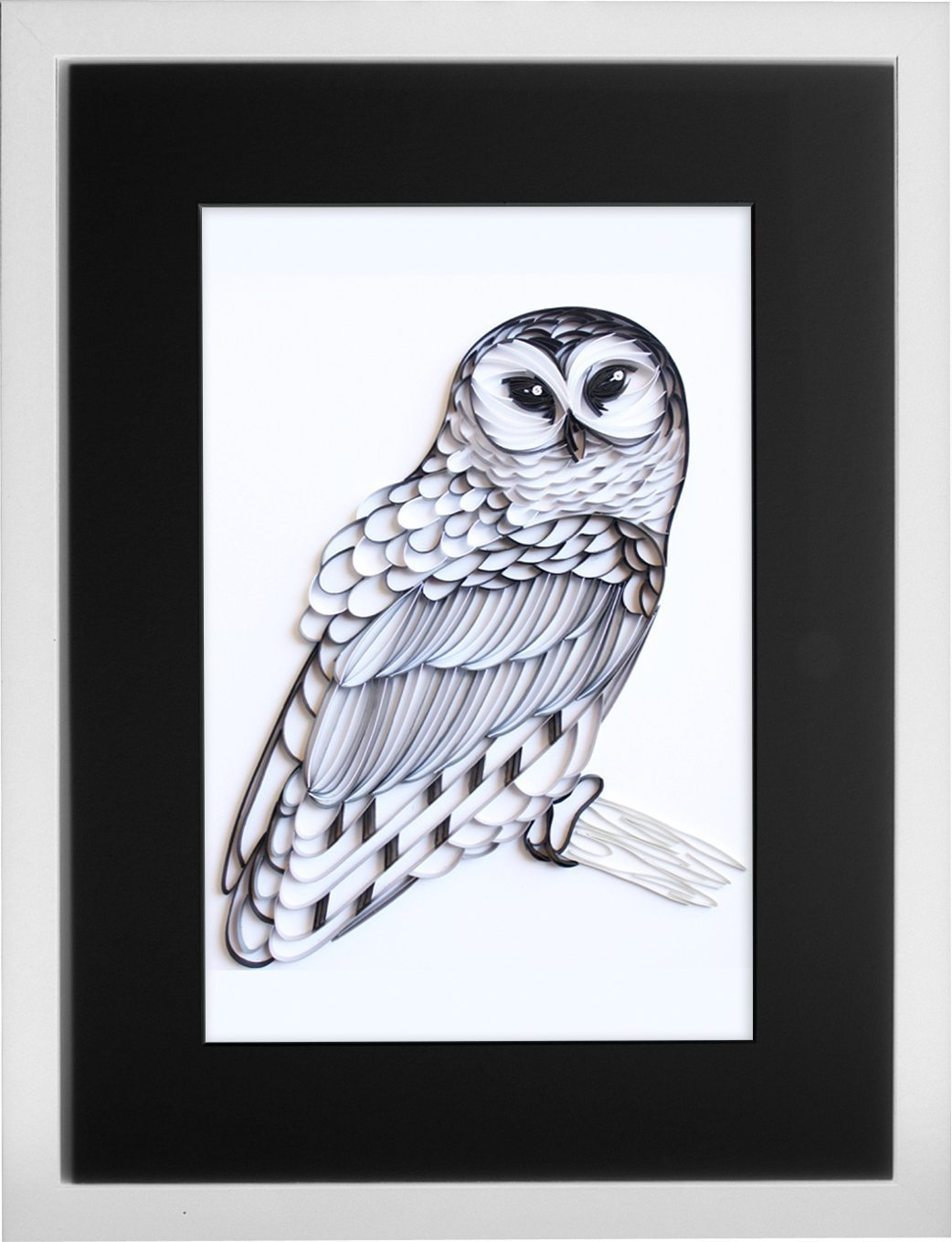 The Barred Owl - Modern Paper Quilled Wall Art for Home Decor (one of a kind paper quilling handcrafted piece made with love by an artist in California)