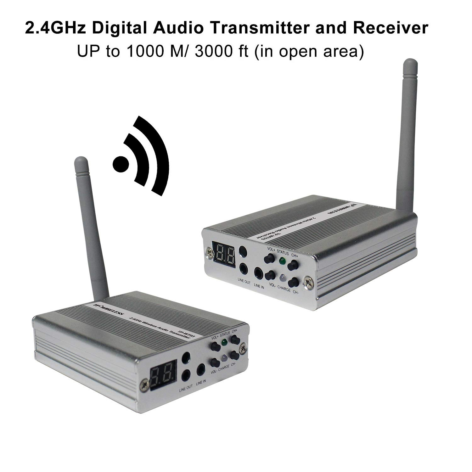 TP-WIRELESS 2.4GHz Long Range Digital Wireless HDCD Audio Adapter Music for Subwoofer and Active Speaker (3000ft 1 Transmitter and 1 Receiver)