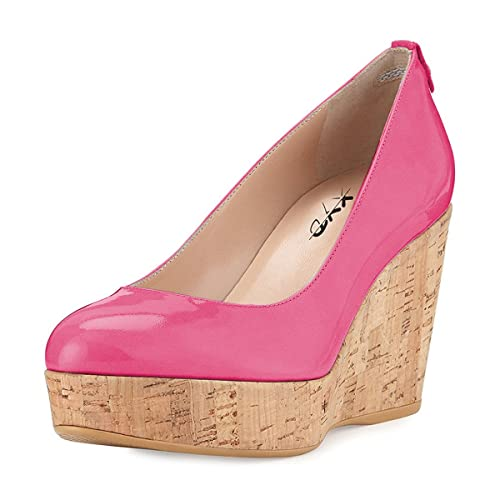 e7b2e46ff277 XYD Women Comfort Round Toe Platform Pumps Slip On Patent Wedge Cork High  Heel Shoes Size