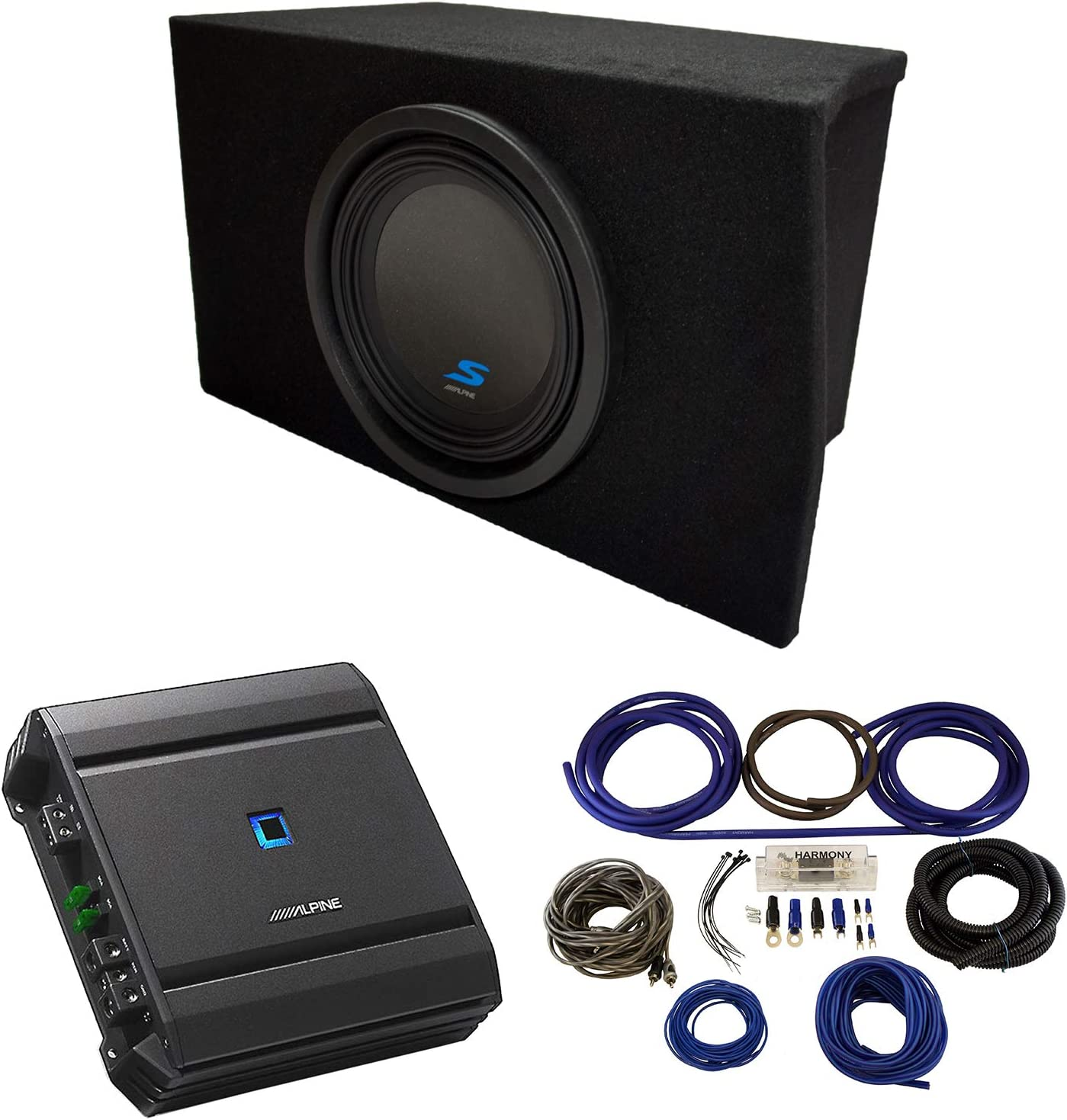 Compatible with 2005-2015 Ford Mustang Coupe Alpine Type S S-W10D2 Dual 10 Custom Sub Box Enclosure with S-A60M Amplifier /& 4GA Amp Kit