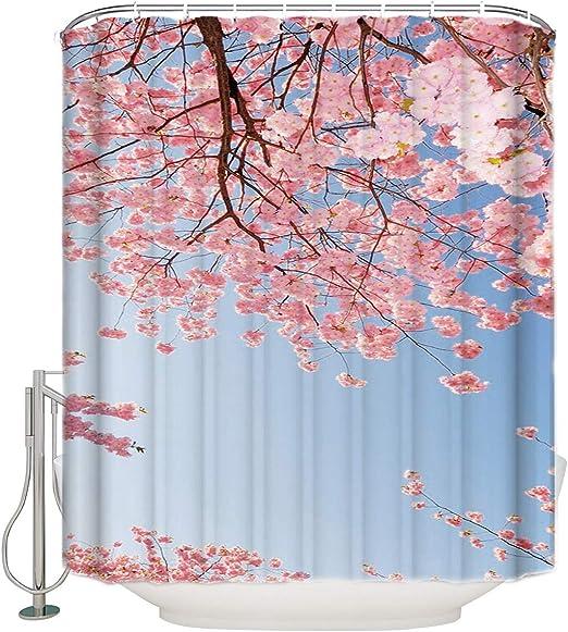 Japanese Pink Cherry Blossom Shower Curtain Bathroom Set Polyester Fabric Hooks