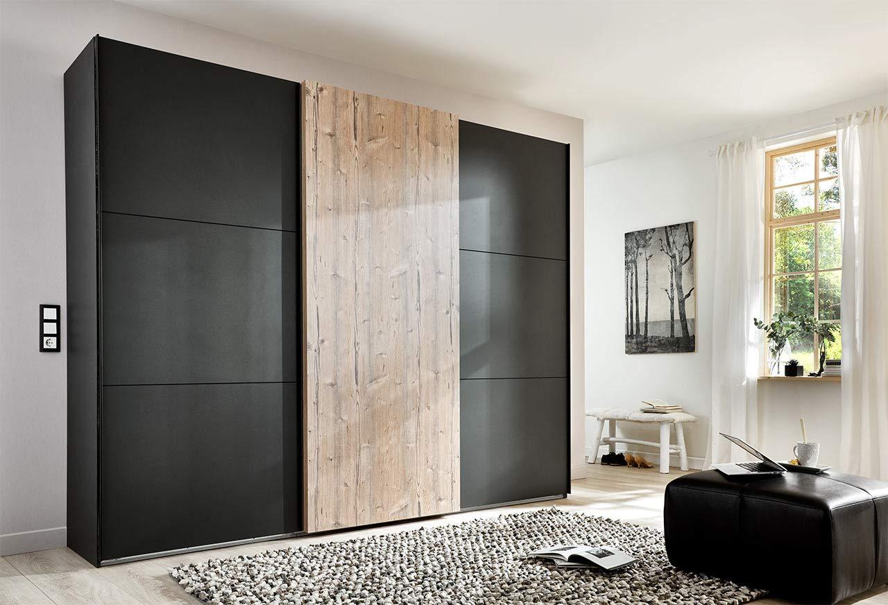 lifestyle4living Kleiderschrank 3-türig in Graphit/Silber-Tanne-Dekor | Schwebetürenschrank mit viel Stauraum, ca. 300 cm breit