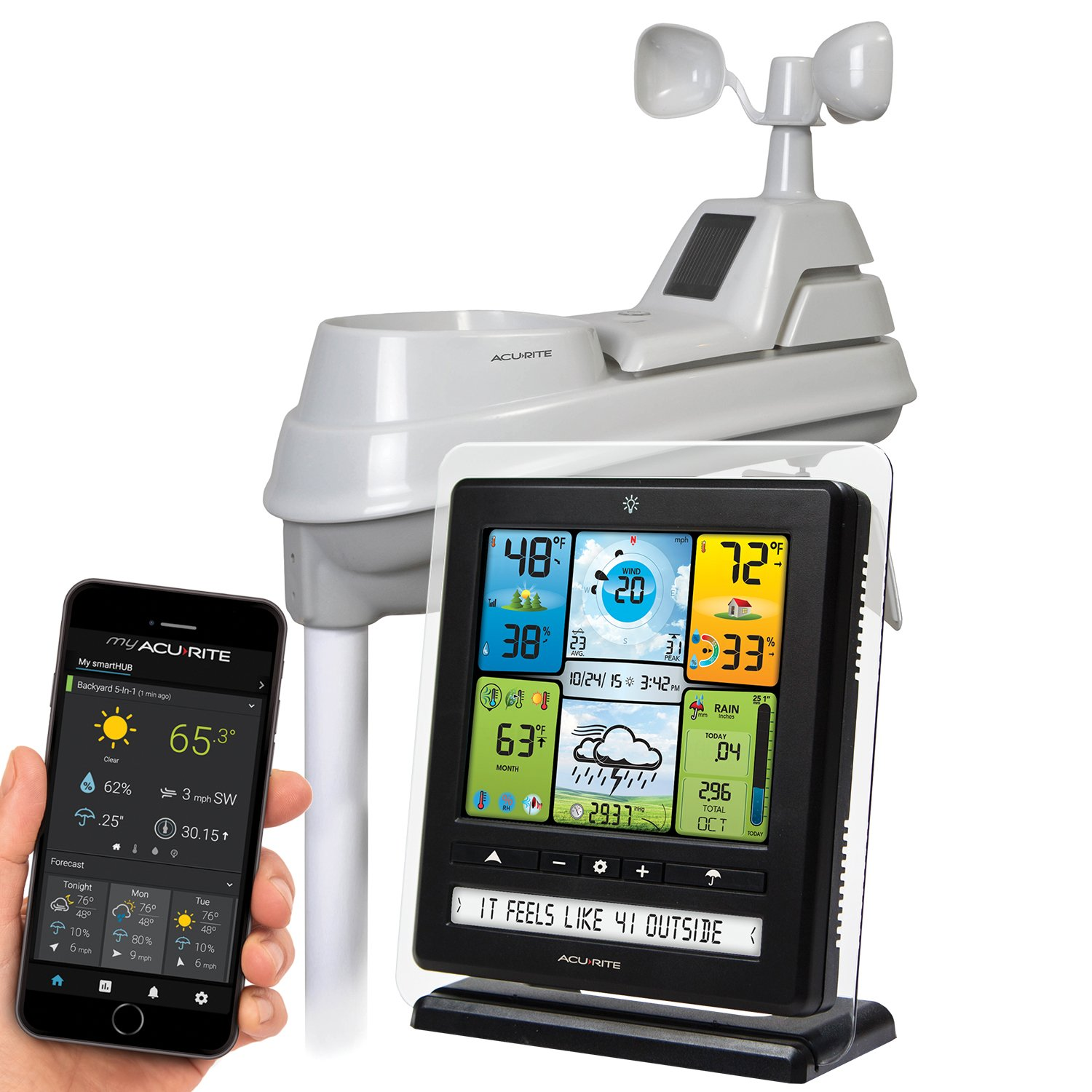 AcuRite 02064 Wireless Weather Station with PC Connect, 5-in-1 Weather Sensor and My AcuRite Remote Monitoring Weather App by AcuRite