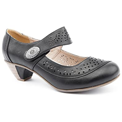 a23f86c5d033 Ladies Caravelle Extra Wide Fit Martina Black Low Heel Shoes Size 8 ...