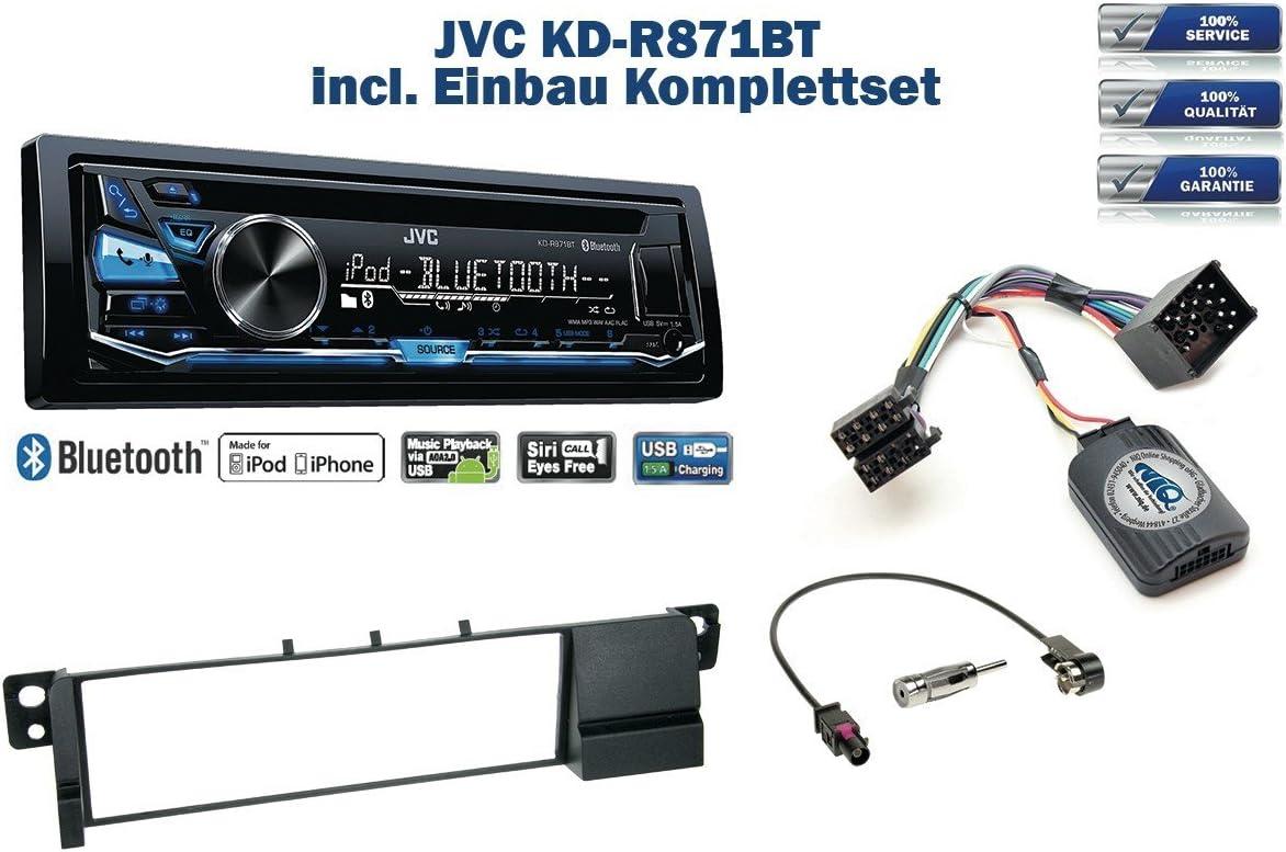 2004 inkl JVC KD-R871BT /& Lenkrad Fernbedienung Adapter NIQ Autoradio Einbauset *Schwarz* geeignet f/ür BMW 3er E46 bis Bj