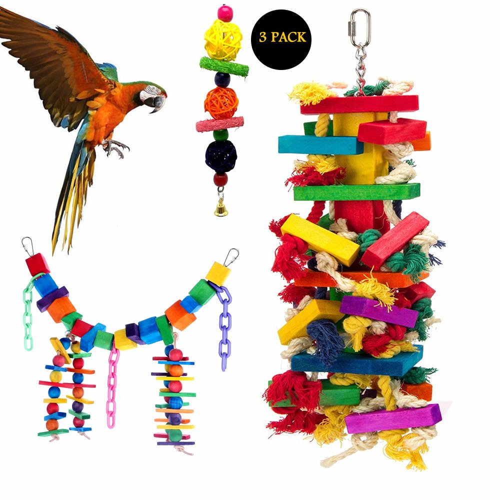 Mrli Pet Bird Knots N Blocks Chew Toys for Large Parrot, Macaw Toys,Bird Swing Toys with Bells, Chew Toys with Colorful Loofah Balls, Parrot Cage Toys Set (3 Pack) by Mrli Pet