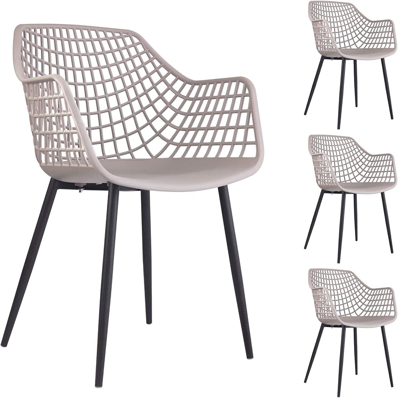 IDIMEX Lot de 4 chaises de Salle /à Manger RETO Style scandinave Design Nordique avec pi/ètement en Bois Massif de Coloris Noir si/ège Coque en Plastique Gris