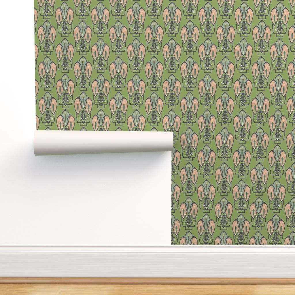 Removable Water-Activated Wallpaper - Frog 1920S Style Art Decor Green Artwork Nouveau 1920 Theme Deco Vintage Garden by Clarkyworks - 24in x 72in Smooth Textured Water-Activated Wallpaper Roll