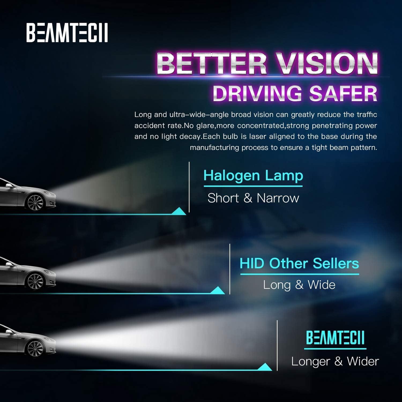 Xenon Headlight Replacement Lights D1R D1C 35W 6000K 12V BEAMTECH D1S HID Bulb Pack of 2