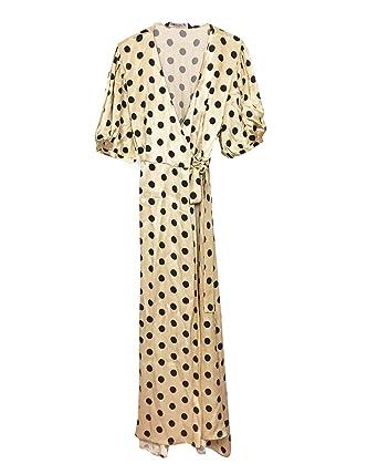 f1893b8f Zara Women Polka dot wrap Dress 7385/106 Off-White at Amazon Women's ...