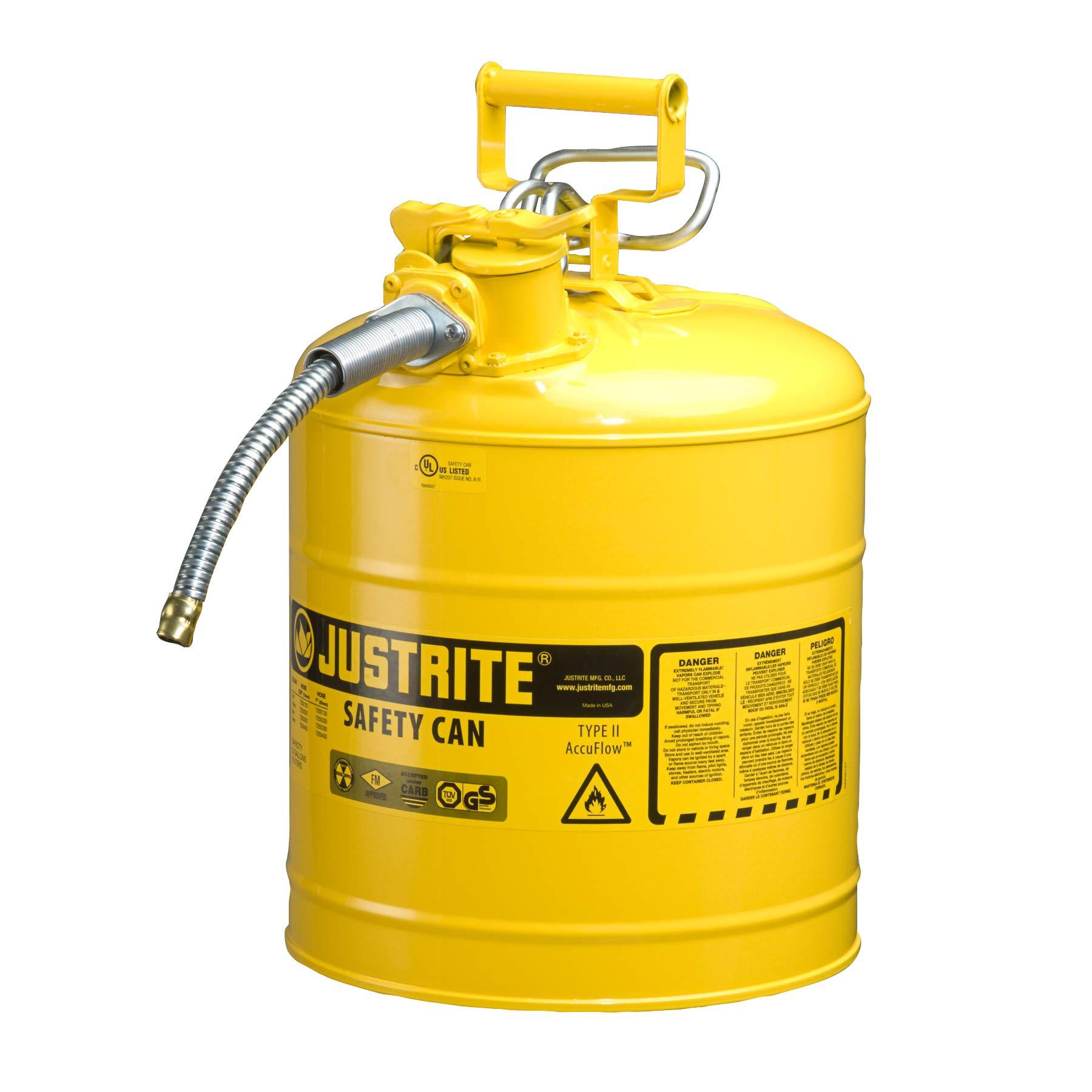 Justrite 7250220 Type 2 Diesel Can, 5/8in Hose, 5 Gal, Yellow