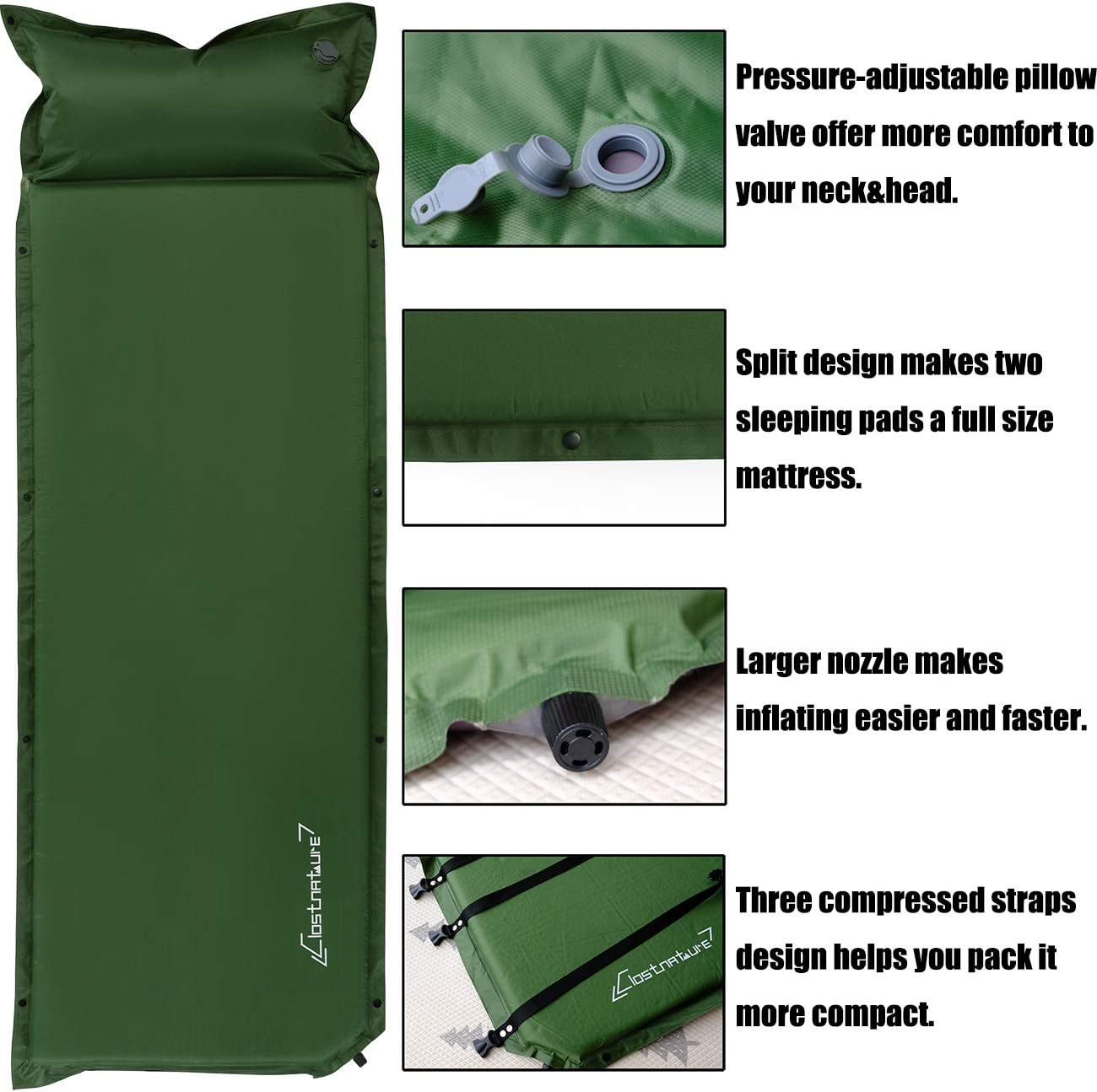 Insulated Foam Sleeping Mat for Backpacking 1.5 Inch Camping Pad Lightweight Inflatable Camping Mattress Pad Tent Hammock Self Inflating Sleeping Pad for Camping