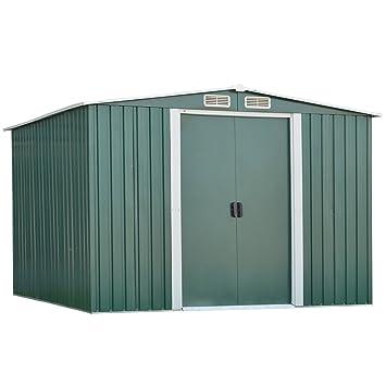 Kinbor Outdoor Steel Garden Storage Utility Tool Shed Backyard Lawn White  W/Door (8