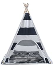 Pet Teepee Tent - 28 Inch Portable Cat Dog Puppy Snuggle House with Removable Cushion Mat by Wonder Space, 100% Natural Cotton Canvas Small Animals Wooden Poles Furniture Bed House, Black Striped