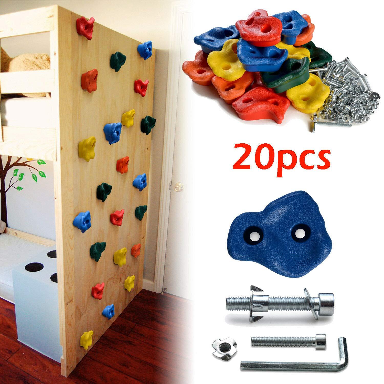 WayToStore 20 PCS Textured Climbing Holds Rock Wall and 40 PCS 8mm zinc Plated Bolts & Nuts