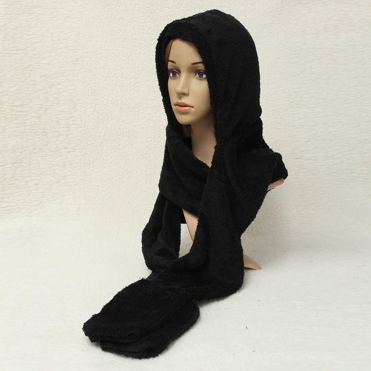 3303a4ac6ebe7 TOOGOO(R) Femmes Epais Gant Chapeau Bonnet Capuche Plush Echarpe Chale  Earflap Hat Gloves Noir: Amazon.fr: Vêtements et accessoires