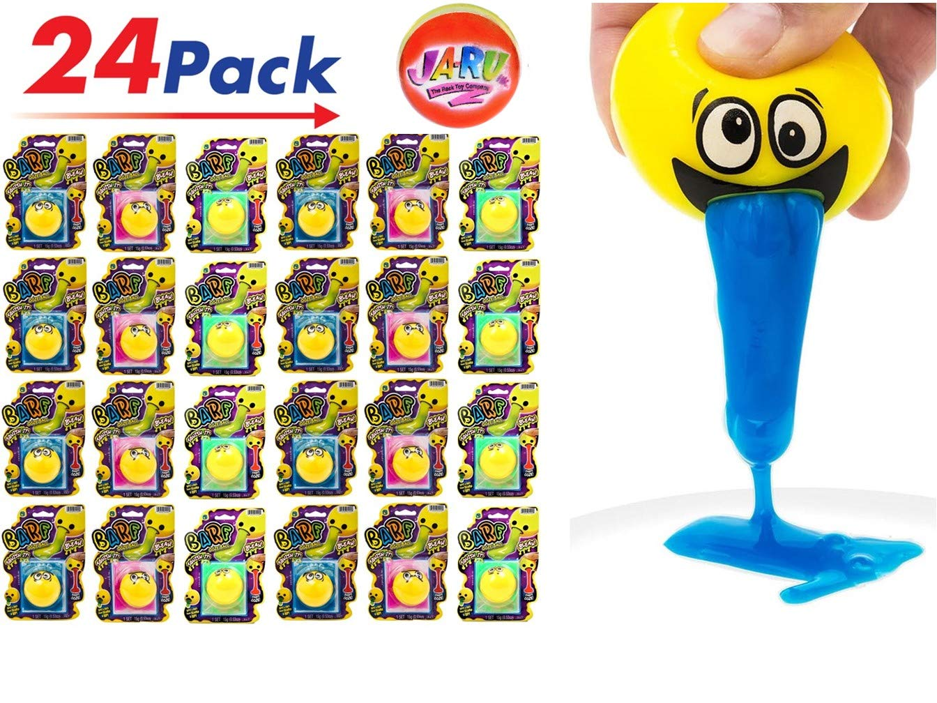 JA-RU Emoji Barf Ooze Stress Relief Squeeze Ball (Pack of 24 Units) Squishy Stress Slime Putty Ball Kit Plus 1 Collectable Bouncy Ball | Item #5299-24p