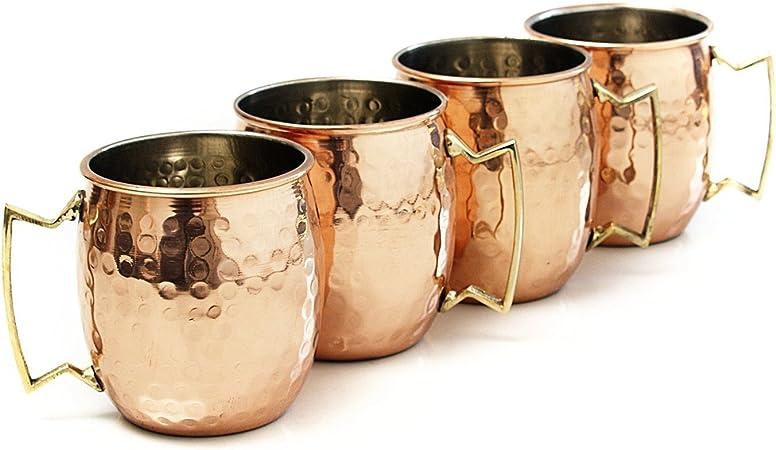 Taza Moscow Mule de Zap Impex® revestida con níquel, hecha a mano, de cobre puro martilleado (4): Amazon.es: Hogar
