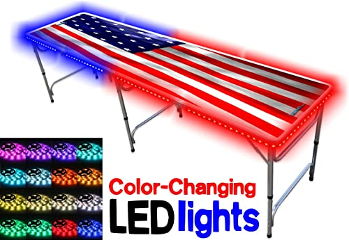 Portable Folding Table w US Flag Graphic LED Lights - Adjustable Length 8 ft or 4 ft Adjustable Height Kid Size Standard Size Party Table