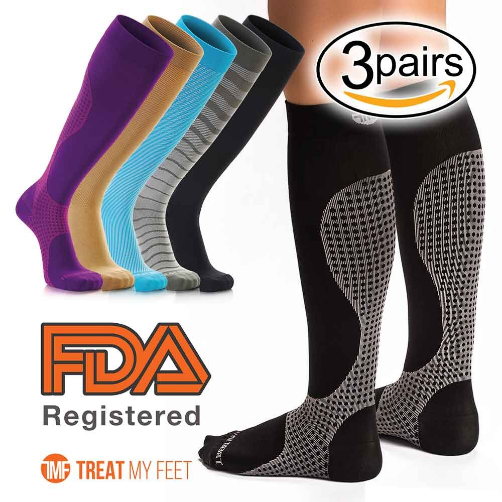 3 Pack XL Compression Socks for Men & Women, Soft & Comfortable Knee High Pressure Socks for Men & Women - Boosts Circulation & Reduces Edema Swelling, 15-20 mmHG Anti-Embolism Stockings and DVT Socks by Treat My Feet